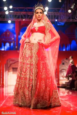 Red chantilly lace lehenga
