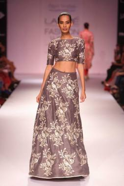 Payal Singhal grey crop top with embroidered skirt
