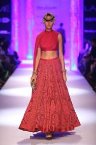Shantanu & Nikhil red self embroidered lehenga