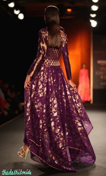 Hand Woven Silk Chanderi Lotus Jaal Floral Asymmetric Long Dress 2 - Rahul Mishra - Amazon India Couture Week 2015.JPG