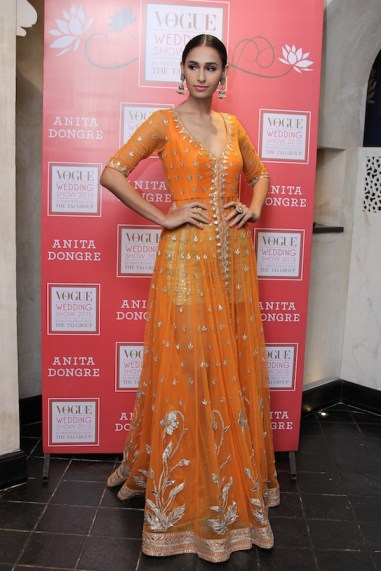 Anita Dongre new collection sneak peek at Vogue Bridal Studio for Vogue Wedding Show 2015 Orange jacket anarkali full length
