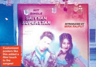 Customised Bollywood style poster that was placed on the stage