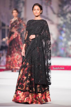 Floral print lehenga with black embroidered net dupatta and black embroidered blouse - Varun Bahl - Amazon India Couture Week 2015