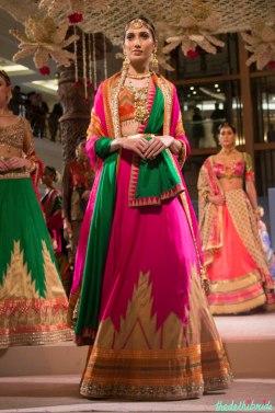 Ashima Leena - Fuschia Pink Lehenga with Pink and Green Dupattas - BMW India Bridal Fashion Week 2015