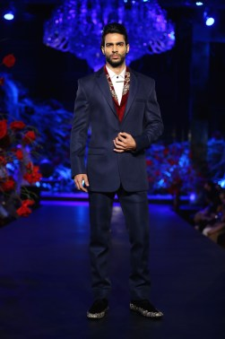 Men's Wear Indigo Blue Jacket _ Pants and Red Half Jacket with Touch of Embroidery - Manish Malhotra - Amazon India Couture Week 2015