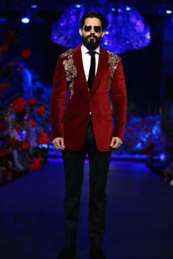 Men's Wear - Red Formal Blazer with Gold Embroidered shoulders - Manish Malhotra - Amazon India Couture Week 2015
