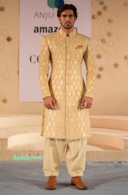 Beige sherwani jacket with print print pyjamas