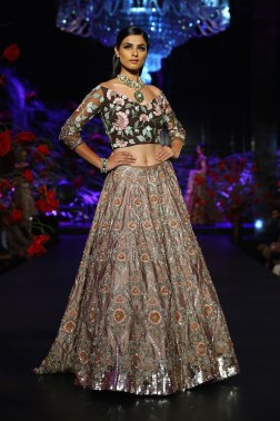 Onion Pink Heavy Sequin Lehenga Skirt _ Brown Blouse with 3D Embroidery - Manish Malhotra - Amazon India Couture Week 2015