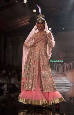 Suneet Varma - Heavily Embroidered Blush Pink Jacket with light lehenga - BMW India Bridal Fashion Week 2015