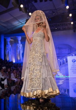Suneet Varma - Heavily Embroidered Pale Blue Long Kurta with Ivory Embroidery and light lehenga - BMW India Bridal Fashion Week 2015