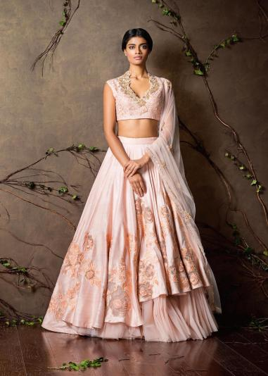 Baby pink double layered lehenga - Shyamal and Bhumika New Collection 2015 - A Little Romance - Autummn-Winter Collection 2015