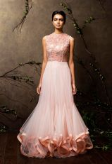 Baby pink flared gown with embroidered yoke - Shyamal and Bhumika New Collection 2015 - A Little Romance - Autummn-Winter Collection 2015