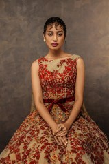 Beige gown with red threadwork embroidery - Shyamal and Bhumika New Collection 2015 - A Little Romance - Autummn-Winter Collection 2015