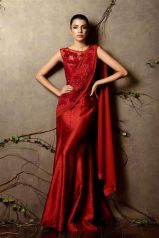 Cardinal red pre-draped sari in raw silk - Shyamal and Bhumika New Collection 2015 - A Little Romance - Autummn-Winter Collection 2015