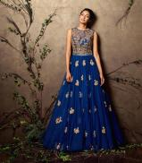 Ink blue gown with gold embroidery - Shyamal and Bhumika New Collection 2015 - A Little Romance - Autummn-Winter Collection 2015