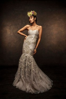 Mermaid style dust grey gown with 3D threadwork - Shyamal and Bhumika New Collection 2015 - A Little Romance - Autummn-Winter Collection 2015