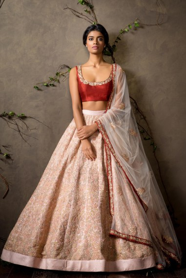 Pale Pink lehenga with Crimson red blouse - Shyamal and Bhumika New Collection 2015 - A Little Romance - Autummn-Winter Collection 2015