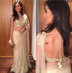 Wedding guest style - Reception - Mira Kapoor in an ivory Arpita Mehta sari - Masaba Gupta and Madhu Mantena Wedding 2015