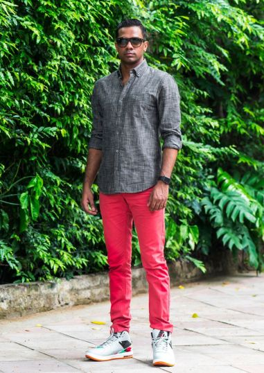 Bhane - Grey semi formal shirt with red pants - Meherchand market wedding shopping guide
