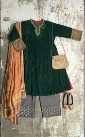 Shades of India - Green velvet kurta with copper dupatta and grey pants - Meherchand market wedding shopping guide