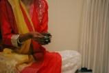 Aashirwaad & Mehendi - red kurta yellow dupatta and silver jewellery on bride - Anasuya Wedding Wardrobe