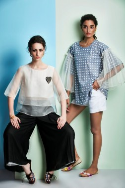 White layered top with black wide pants   Blue checked top with bell sleeves and shorts