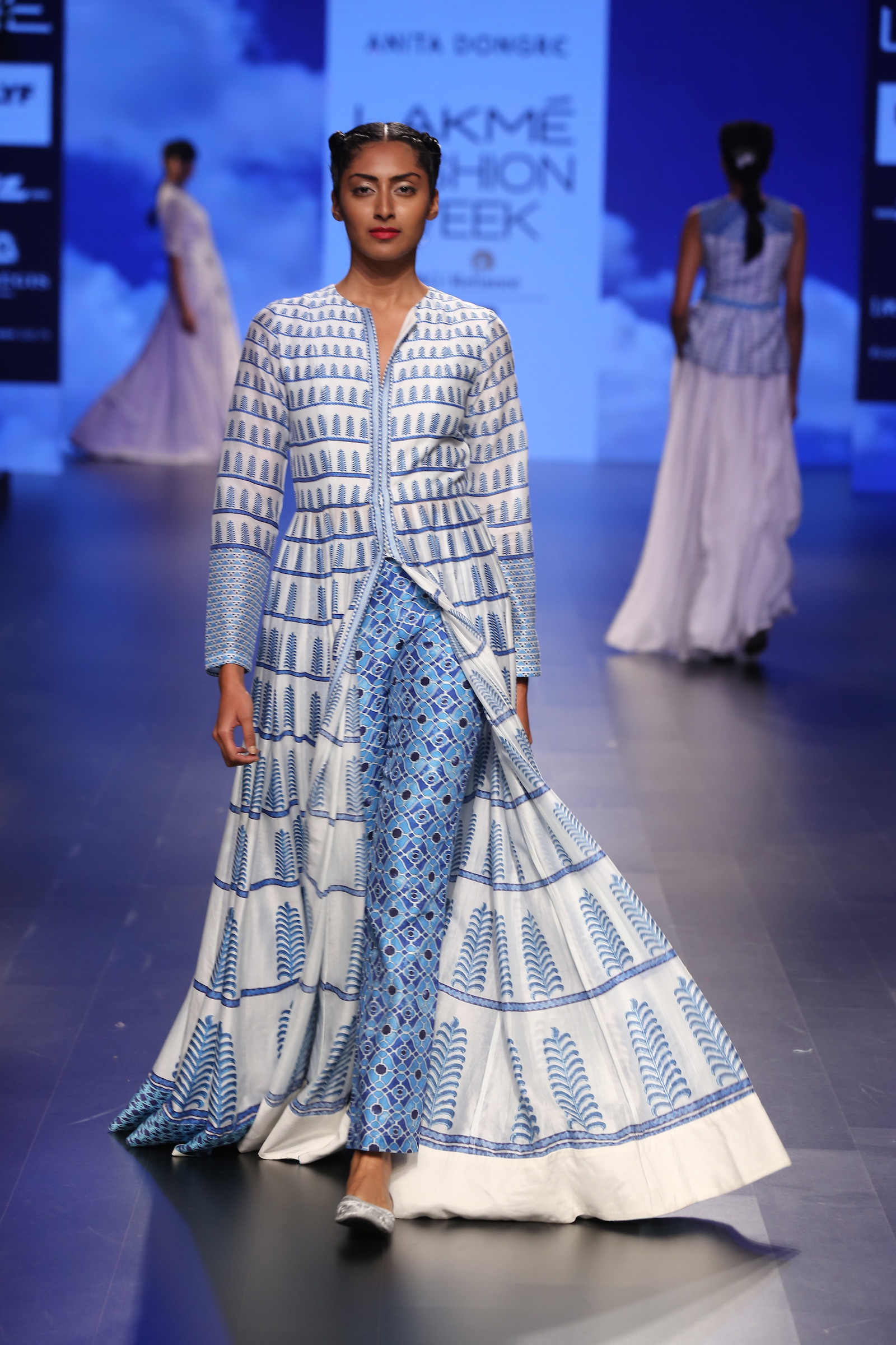 13 Printed blue and ivory anarkali jacket with printed