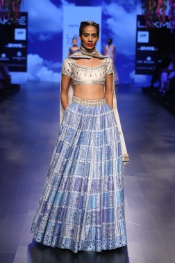 19 Blue print lehenga with ivory and silver gota patti blouse | Anita Dongre Love Notes | Lakme Fashion Week 2016