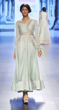 Pale blue angrakha with silver embroidery on yoke by Anushree Reddy at Lakme Fashion Week Summer Resort 2016