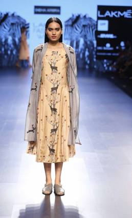 Western wear - Dress - Sneha Arora - Gold reindeer print dress with grey cape style jacket - Lakme Fashion Week Summer-Resort 2016
