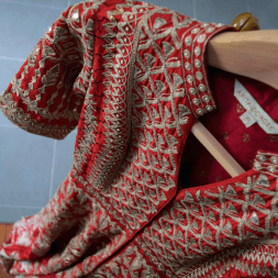 Red raw silk jacket anarkali with heavy gota patti work details - Anita Dongre - Make in India 2016