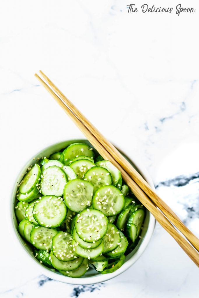 Overhead shot of Asian Cucumber Salad