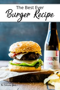 Pinterest Pin - pic of burger and beer