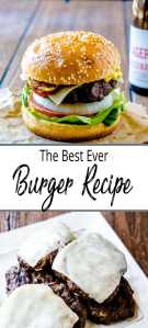 Pinterest Pin - Pic of burger and pile of cheeseburgers