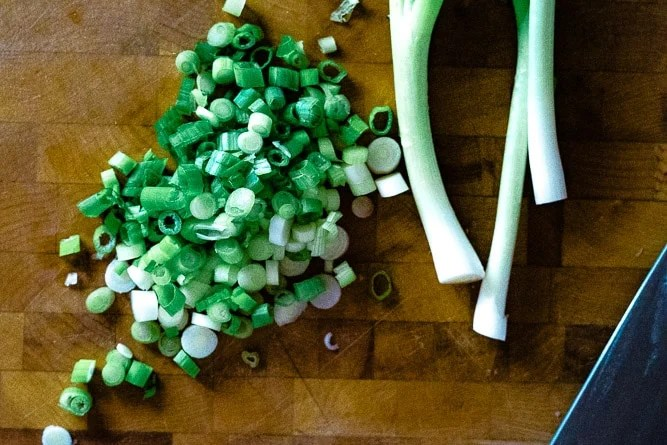 Overhead shot of some sliced green onions