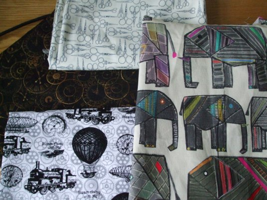 Transport, bottom left, and the scissors fabric in grey