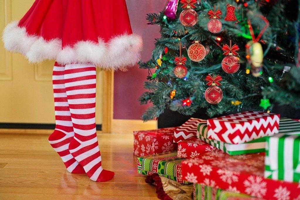 decorating christmas tree, santa, woman