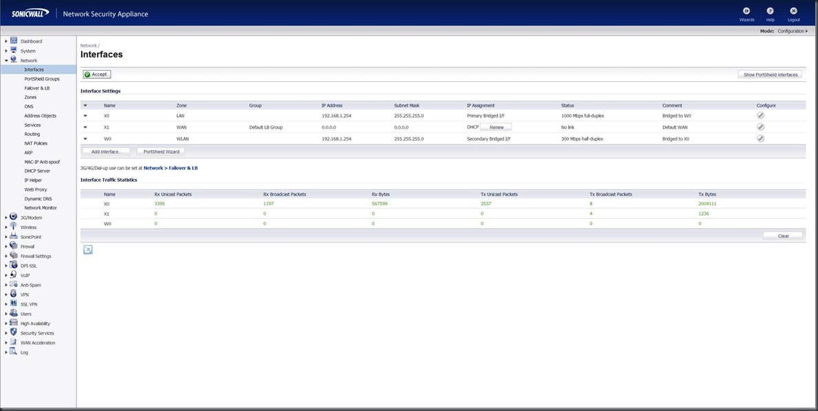 sonicwall interface