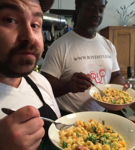 Ben Miner & friend sample their gourmet Mac & Cheese