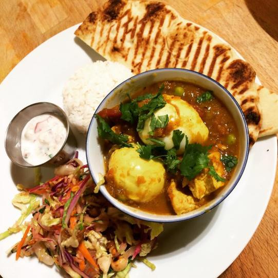Curried eggs with homemade paneer & Burmese ginger salad TONIGHT! #vegan options too!