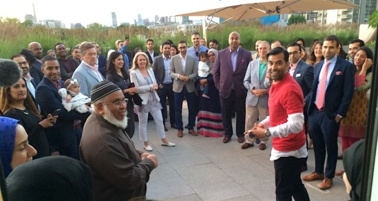 Zaib Shaikh kicks off the breaking of the fast.