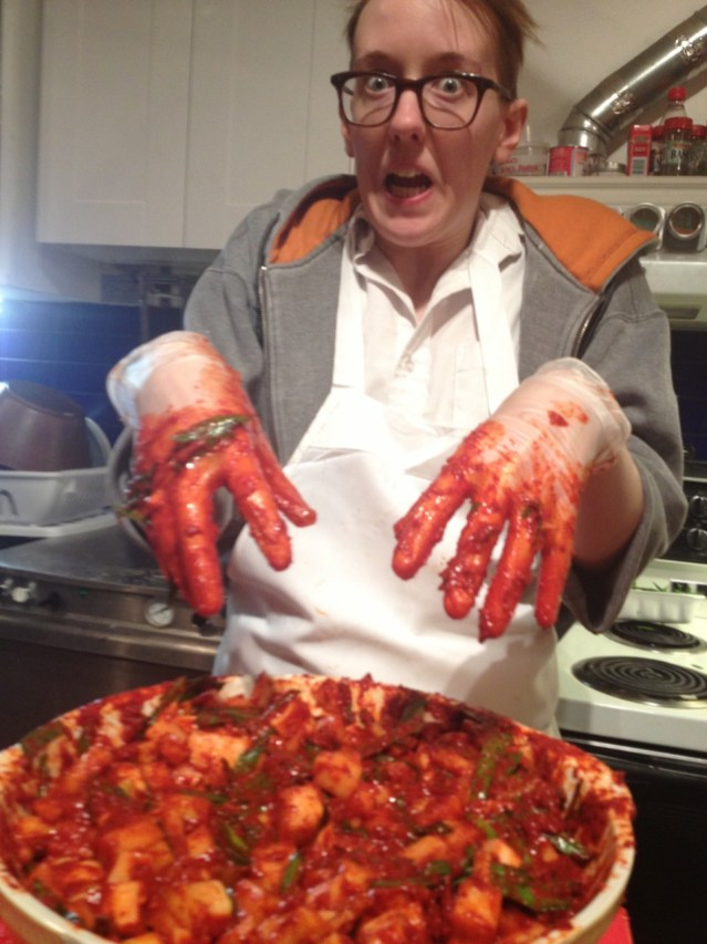 Jonna Pederson was not only our ace brunchatrix for a while, but was also a Korean food wiz, having lived there for many years. Here she is going full Dexter on a batch of kimchi