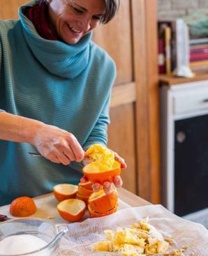 Christine Manning preparing marmalade