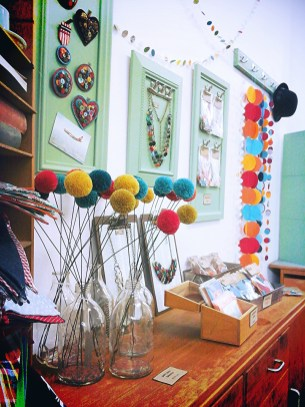 pom poms and bunting