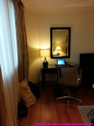 Desk with powerpoints and lights. Free wifi throughout the hotel