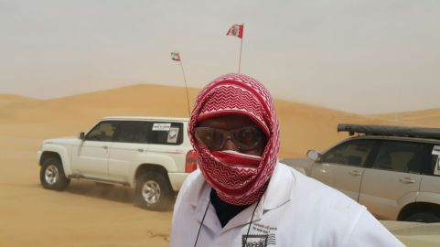 team leader Albert - unusual headgear or was it a flag growing out of his head