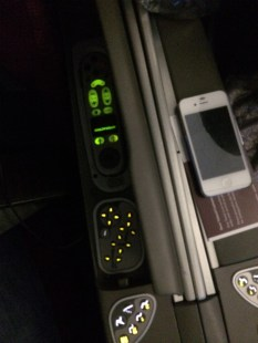 The seat controls of the A330