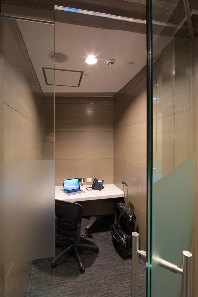 Private phone booth in United Club, Heathrow T2