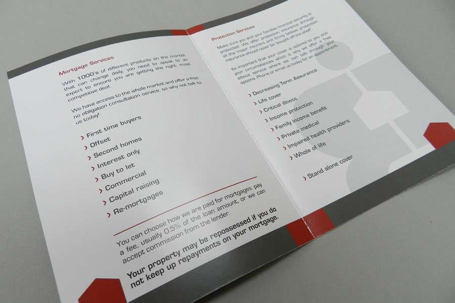 A6 pocket size leaflet for insurance company in Clevedon, Somerset