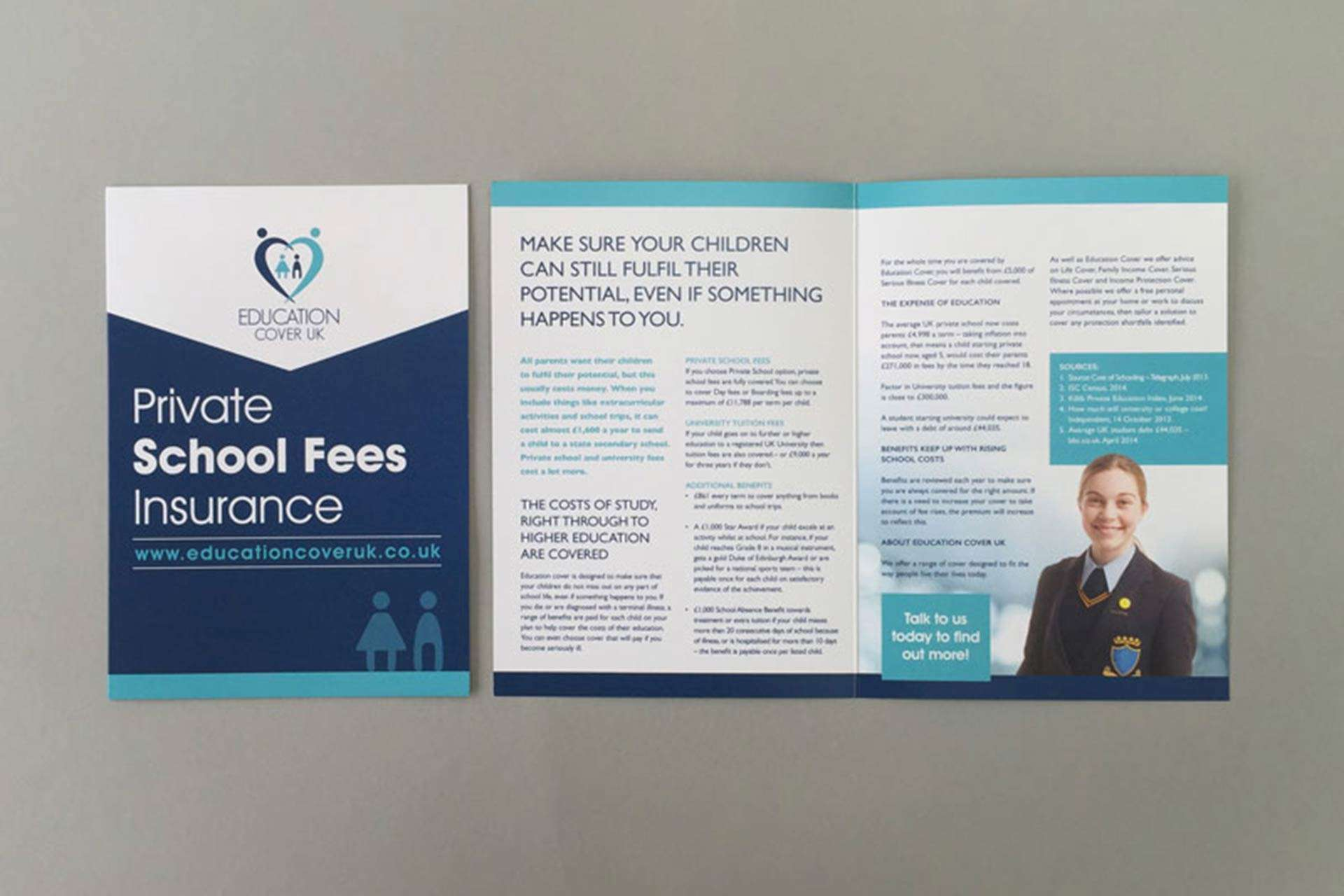 Brochure/Leaflet design for educational insurance company based in Clevedon, North Somerset